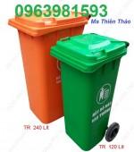 Cung cấp thùng rác công cộng 120l, thùng rác 2 bánh xe, thùng rác HDPE giá rẻ