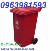 Thùng rác nhựa HDPE 240 lít, thùng rác nhựa Composite, thùng đựng rác công cộng