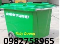 Xe gom rác 660l, thùng rác 660l, xe đẩy rác nhựa HDPE giá rẻ