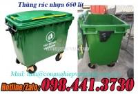 Thùng rác nhựa 660 lít màu xanh giá rẻ