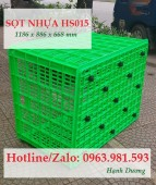 Sọt nhựa 26 bánh xe HS015, sóng nhựa hở, thùng nhựa rỗng