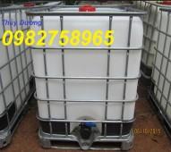 Tank IBC, tank nhựa 1000 lít, thùng nhựa có khung thép bao quanh, thùng hóa chất