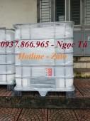 Thùng nhựa công nghiệp 1000L bọc sắt có van xả, tank nhựa chứa hóa chất, bồn nhự