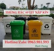 Thùng rác nhựa 60L nắp kín