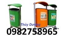 Thùng rác nhựa HDPE, thùng rác treo đôi, thùng đựng rác 80 lít, giá rẻ
