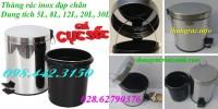 Thùng rác inox đạp chân 5 lít, 8 lít, 12 lít, 20 lít và 30 lít giảm giá cực sốc