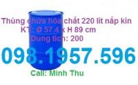 Thùng phuy nhựa nắp kín 220l