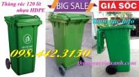 Thùng rác 120L, thùng chứa rác 120L, thùng rác nhựa 120 lít giá siêu rẻ