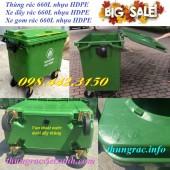 Thùng rác 660 lít, xe rác 660 lít nhựa hdpe giảm giá cực sốc – khuyến mãi