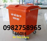 Xe gom rác nhựa HDPE, xe gom rác 660 lít, xe thu gom rác 4 bánh xe, xe đẩy rác