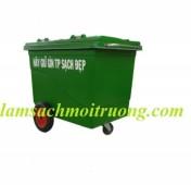 xe gom rác màu trắng, thùng rác giá rẻ, thùng rác nhựa 660 lít.