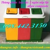 Thùng phân loại rác 3 ngăn nắp lật nhựa composite giá siêu rẻ call 0984423150