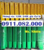 Bán thùng rác 240 lít màu xanh, cam nhựa hdpe giá siêu rẻ- lh 0911.082.000
