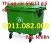 PP thùng rác 240 lít màu xanh, nắp kín giá rẻ- lh 0911.082.000