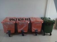 Thùng rác Composite 660L, xe thu gom, xe đẩy rác công nghiệp giá rẻ