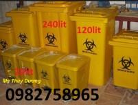Thùng rác y tế 90 lít, thùng rác y tế màu xanh, thùng rác nhựa đạp chân