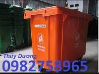 Xe gom rác nhựa 660 lít, xe gom rác 3 bánh xe, xe gom rác nhựa HDPE giá rẻ