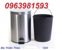 Thùng rác Inox có gạt tàn, thùng rác inox đạp chân, thùng rác văn phòng giá rẻ
