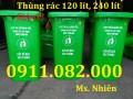 Thùng rác thanh lý giá siêu rẻ- thùng rác 120L 240L nhựa màu xanh, nắp kín