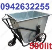 Xe gom rác tôn, xe đẩy rác 500l, xe thu gom rác giá rẻ