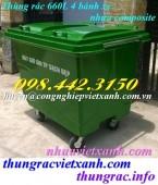 Thùng rác 660 lít – Xe rác 660 lít 4 bánh xe nhựa Composite giá sốc
