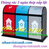 Thùng phân loại rác 3 ngăn nắp lật thép giá rẻ call 0984423150 – Huyền