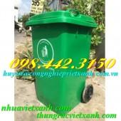 Thùng rác 100 lít nhựa HDPE nắp kín - 2 bánh xe giá cực sốc call 0984423150
