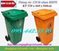 Giảm giá cực sốc thùng rác 120L và thùng rác 240L nắp kín - 2 bánh xe