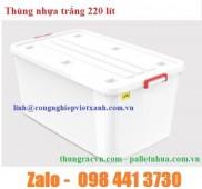 Thùng vuông trắng 220 lít, thùng vuông 220 lít, thùng nhụa vuông 220 lít