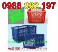 Sóng nhựa hở có bánh xe,sóng nhựa hs0199, thùng nhựa công nghiệp, rổ nhựa có bán