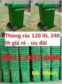 Bán thùng rác nhựa 120 lít giá rẻ- xanh, cam, vàng