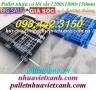Pallet nhựa 1200x1000x150mm có lõi sắt 3 đường thẳng đen - xanh giá rẻ