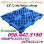 Pallet nhựa cốc 9 chân KT 1200x1000x140mm màu xanh dương giá siêu rẻ