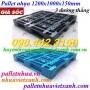 Pallet nhựa 1200x1000x150mm 3 đường thẳng đen - xanh dương giá rẻ
