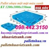 Pallet nhựa 1200x1000x150mm xanh nhạt – đan thanh