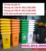 Thùng rác 240 lít màu xanh nắp kín giá rẻ- thùng rác công cộng giá chuyên sỉ