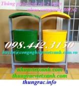 Thùng phân loại rác 2 ngăn nhựa composite có mái che