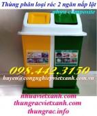 Thùng phân loại rác 2 ngăn nắp lật nhựa composite giá rẻ, siêu cạnh tranh