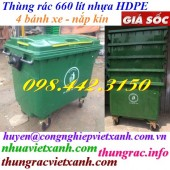 Thùng rác nhựa HDPE 660 lít 4 bánh xe màu xanh lá