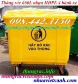 Thùng rác nhựa 660 lít 4 bánh xe màu vàng