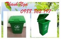 Thùng rác nhựa nắp kín dung tích 90 lít, thùng rác nhựa công nghiệp nắp kín 90 l