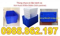 Thùng nhựa đặc có bánh xe, sóng nhựa bít, thùng chứa linh kiện, thùng đựng linh
