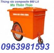 Xe rác, nơi bán thùng rác, thùng rác công cộng, xe đẩy rác, Xe rác 660l,