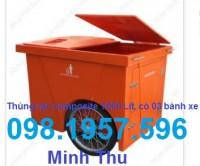 xe gom rác, xe gom rác 660l, xe chở rác,