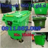 Mua bán thùng rác 120L 240L 660L giá rẻ tại cà mau- thùng rác y tế màu vàng-lh 0