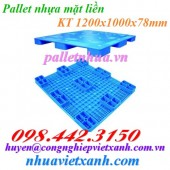 Pallet nhựa mặt liền 1200x1000x78mm PL02LS