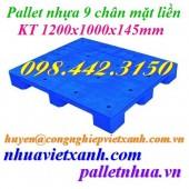 Pallet nhựa mặt liền 1200x1000x145mm PL09LS – tải trọng trung bình