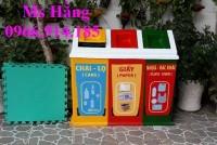 Thùng rác 3 ngăn 3 màu,thùng rác 3 ngăn hình mái nhà