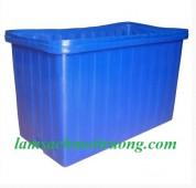Thùng nhựa hình chữ nhật 500 lít, thùng nhựa có nắp đậy, thùng đựng hóa chất