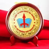 đĩa đồng quà tặng, biểu trưng gỗ đồng